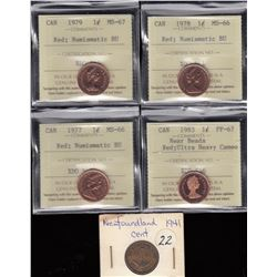 Lot of 5 Various One Cent Coins