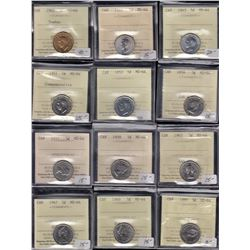 Lot of 18 ICCS Graded Five Cents