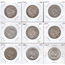 Fifty Cent Pieces, Lot of 9