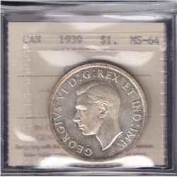 1939 Silver Dollar - Parliment Buildings