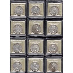 1958 Silver Dollars - Lot of 12