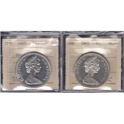 Lot of Two ICCS Graded Silver Dollars