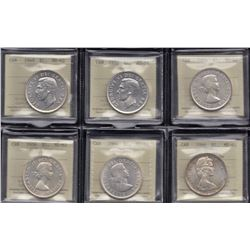 Lot of 6 ICCS Graded Silver Dollars