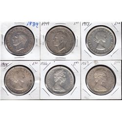Silver Dollars, Lot of 6