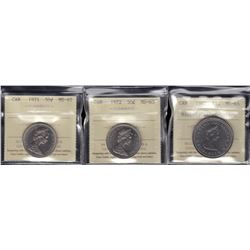 Lot of Three ICCS Graded Coins