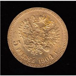 Russia 5 Roubles Gold Coin, 1904