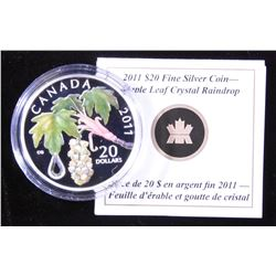 2011 Crystal Raindrop Maple Leaf $20 Fine Silver Coin
