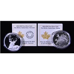 2014 The White-Tailed Deer: Portrait & Mates $20 Silver Coins