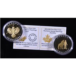 2014 Seven Sacred Teachings $20 Silver Coins - Humility & Love