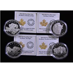 2014 Bison $20 Fine Silver Coin - Lot of 4