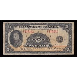 Bank of Canada $5, 1935 French