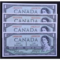 Bank of Canada $1, 1954, Devil's Face - Lot of 4