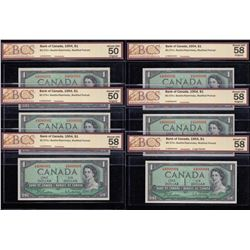 Bank of Canada $1, 1954 Lot of 6 Consecutives with 2 Digit Radar