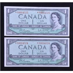 Bank of Canada $1, 1954 Replacement Notes - Lot of 2 Consecutive