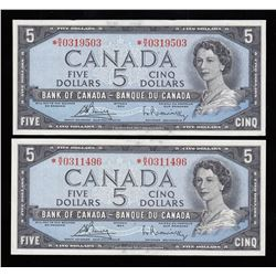 Bank of Canada $5, 1954 replacements - Lot of 2