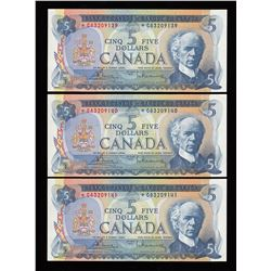 Bank of Canada $5, 1972 - Lot of 3