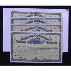 Four Different Canada Southern Railway Company Stock Certificates