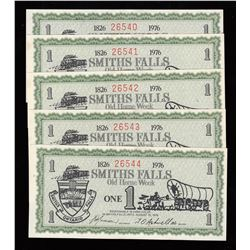 Lot of 5 Consecutive Serial Number Smiths Falls Ontario Old Home Week Scrip