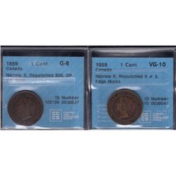 1859 One Cent - Lot of 2