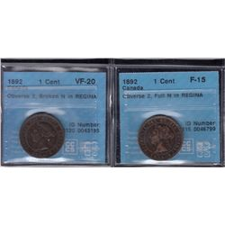 1892 One Cent - Lot of 2