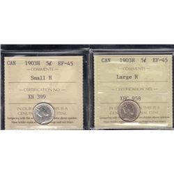 1903H Five Cents - Lot of 2