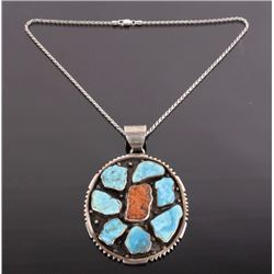 Selina Jake Sterling, Turquoise, & Coral Pendant