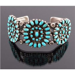 Navajo Sterling Petit Point Turquoise Bracelet