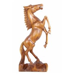 Bucking Bronco Carved Rosewood Horse