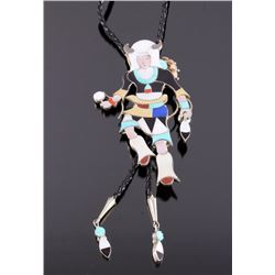 Signed Zuni Inlaid Sterling Kachina Bolo Tie