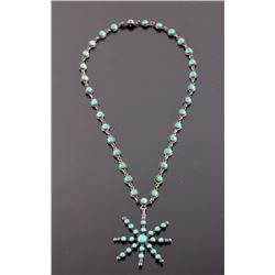 1920's Navajo Sterling Silver Turquoise Necklace