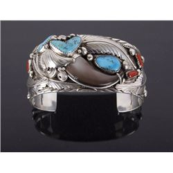 Navajo Sterling, Turquoise, Bear Claw & Coral Cuff