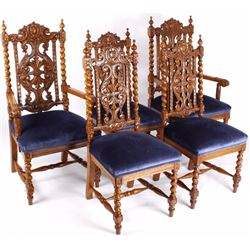 Quarter Sawn Oak Rococo Style Dining Chairs