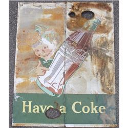 "Large 1940's- Coca-Cola ""Sprite Boy"" Tin Sign"
