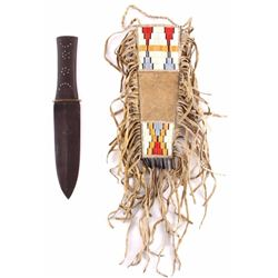 HBC Style Knife w/ Plains Quilled Scabbard