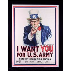 Original WWI 1917 Uncle Sam Recruiting Poster