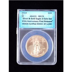 2010 $50 Gold Eagle ANACS Graded MS70