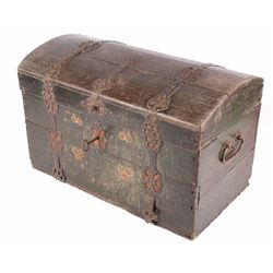 Immigrant Wood & Wrought Iron Trunk circa 1836
