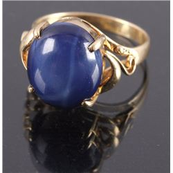 18K Gold Natural Star Sapphire Ring