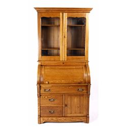 Oak Warren Secretary's Cylinder Roll Top Book Case