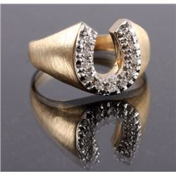 10K Gold and Diamond Horseshoe Ring