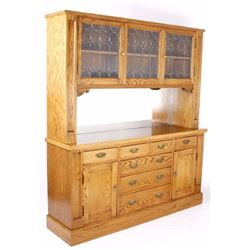Golden Oak & Leaded Glass Sideboard Cabinet c-1910
