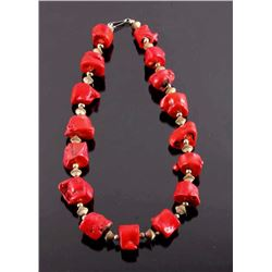 Navajo Coral Nugget Necklace