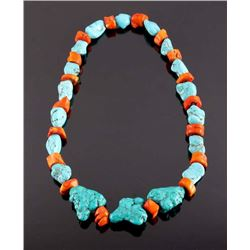 Navajo Coral and Turquoise Nugget Necklace
