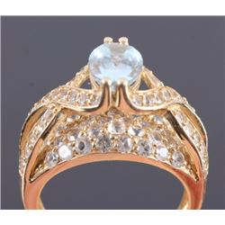 14K Gold Diamond and Aquamarine Ring