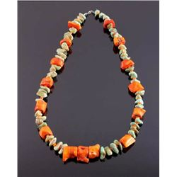 Navajo Turquoise Nugget and Coral Necklace