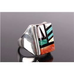Zuni Sterling Silver Multi-Stone Inlay Men's Ring