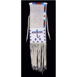 Sioux Dragonfly Motif Beaded Long Fringe Pipe Bag