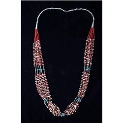 Navajo Turquoise, Shell, Coral, & Silver Necklace