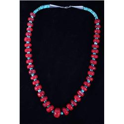 Navajo Turquoise & Pacific Coral Beads Necklace