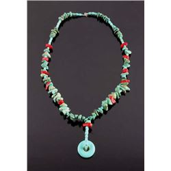 Navajo Turquoise and Coral Necklace
